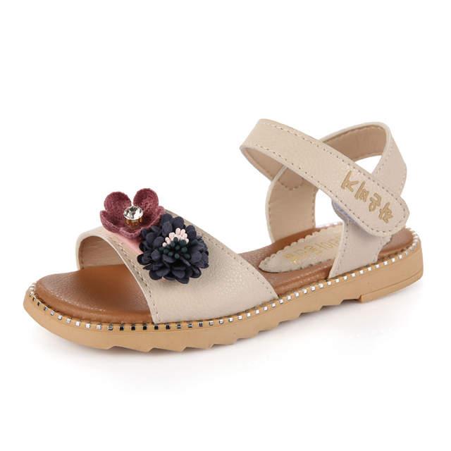 6efa7304b Online Shop New Sandals for Girl Kids Flower Design Cute Girls Shoes Soft  Leather Kids Sandals Princess Slippers Children Beach Sandals