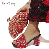 Hot Selling Red Nigerian Shoes and Matching Bag In Women Matching Shoes and Bag Set Italian Shoes with Matching Bag for party