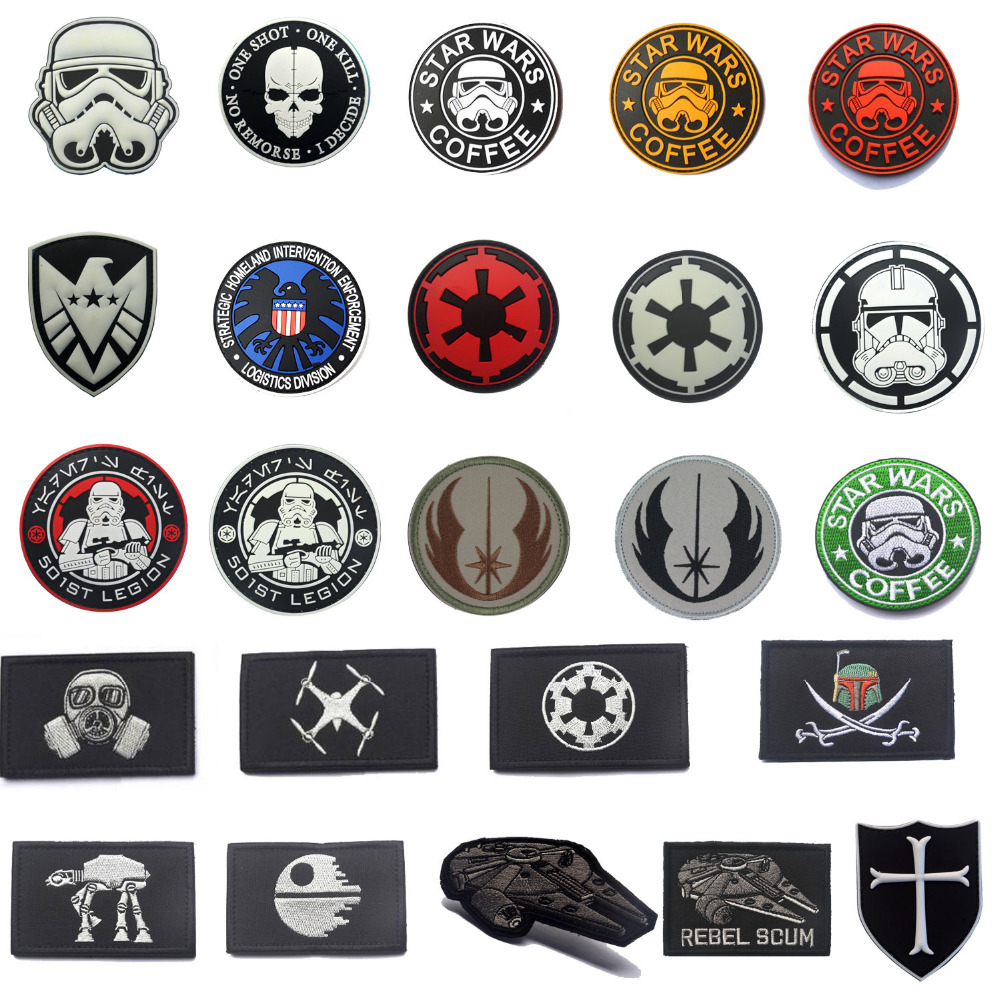 Militære patcher Star Wars Kaffepatch 3D PVC eller Brodert Tactical patch Badges for klærposer med Hook & Loop