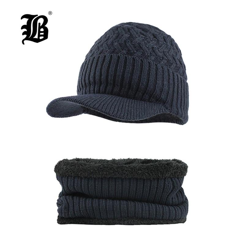 [FLB] Winter Knitted Hat Beanie Men Scarf Skullies Beanies Winter Hats For Women Men Caps Gorras Bonnet Mask Brand Hats F18023