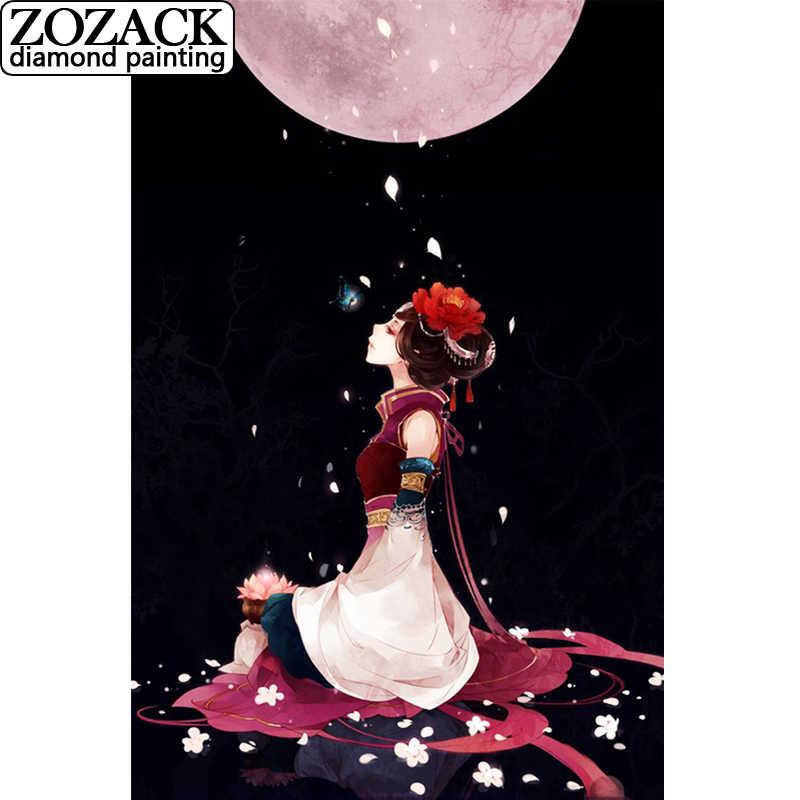 מכירת DIY יהלומי רקמה 5D ילדה תחת ירח קריקטורה תמונה מלא כיכר Rhinestones רקמה תחביב עיצוב הבית