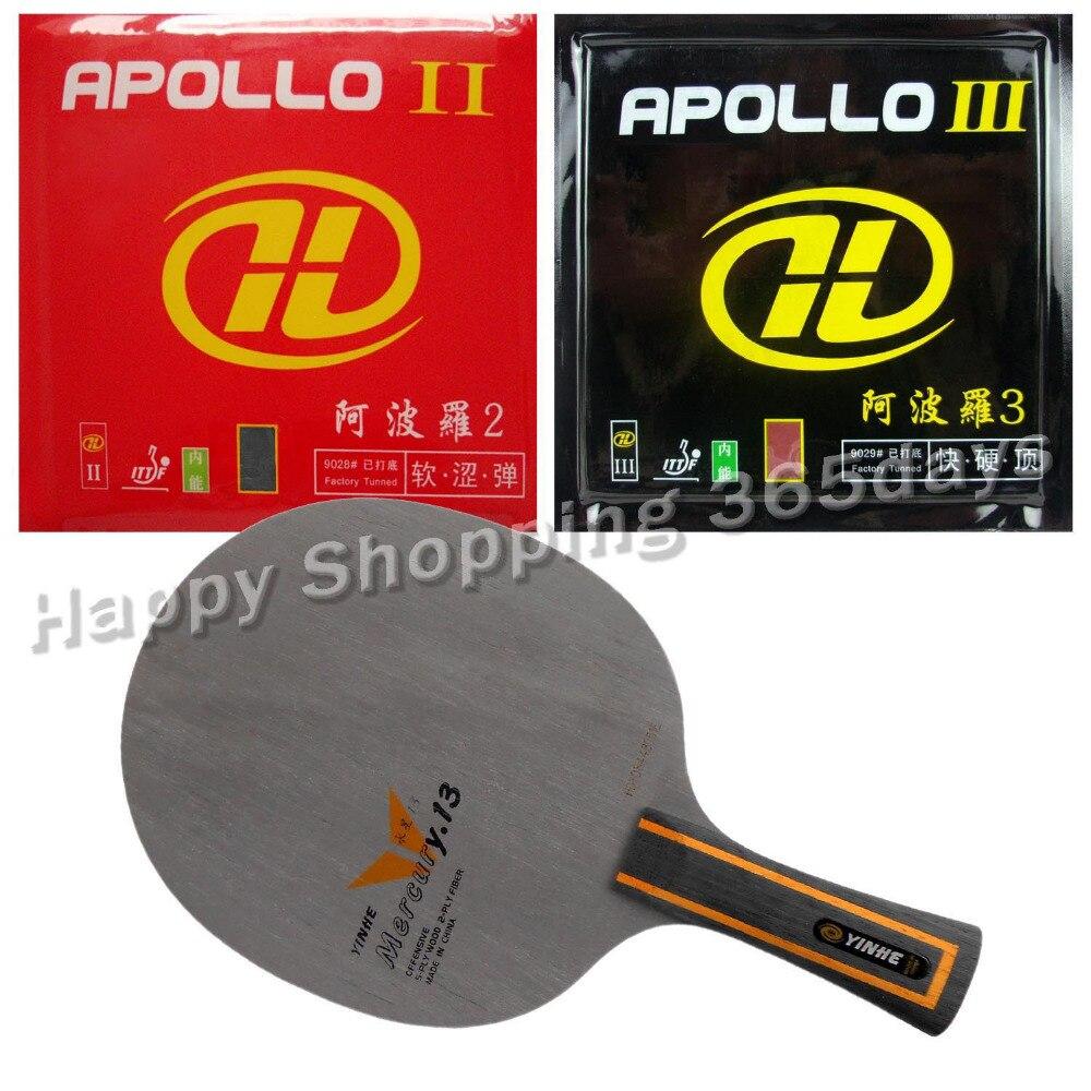 Pro Table Tennis PingPong Combo Racket Galaxy YINHE Mercury.13 with Apollo II and Apollo III Long shakehand FL pro table tennis pingpong combo racket galaxy yinhe mercury 13 with sun and moon factory tuned