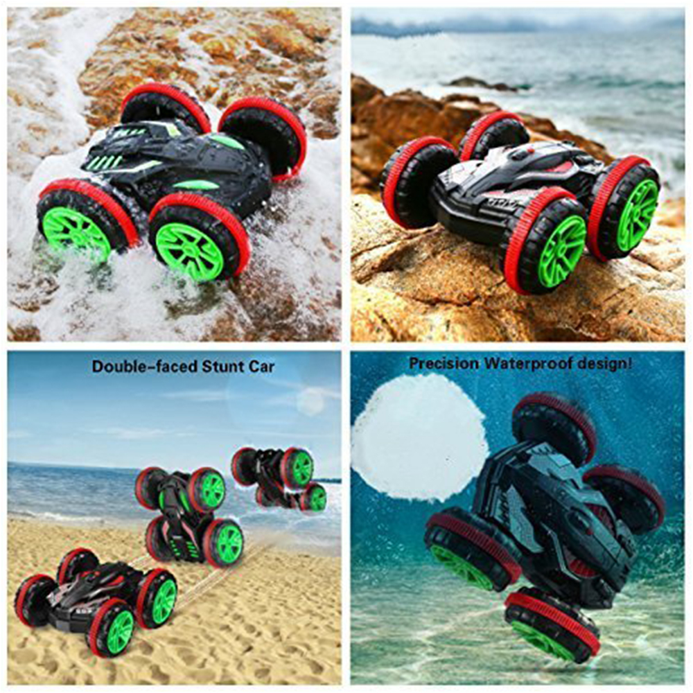 Rc Car 1/18 2.4Ghz 4WD Remote Control Car Amphibious Vehicle Double-Sided Stunt Car Scale 360 degree radio controlled machine