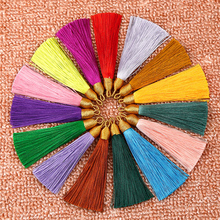 цены New 5pcs/lot 26 Colors Cotton Silk Tassel Brush Cords for Earrings Car Bag Tassels Charm Pendant DIY Jewelry Making Findings