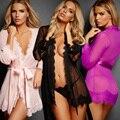 Rendas Roupão Camisola Nightskirt Erótico Fantasias Pijamas Conjuntos de Roupa Interior Lingerie Lenceria Sexy Roupão de Banho + T-back D0270