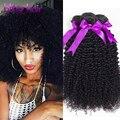 Малайзийский Вьющиеся Переплетения Человеческих Волос Связки Малайзии Странный Вьющиеся Волосы Девственницы 8А Королева Продукты Малазийский Афро Кудрявый Вьющиеся Волосы