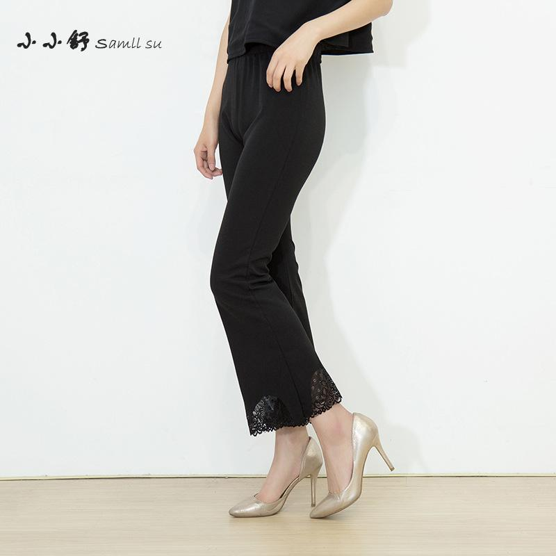 Wsfs Summer Black nėriniai elastiniai aukšto juosmens pėdkelnės PANTS Kelnaitės iki ilgio tvarsčio Kelnės Moteriškos plačios kojos Kelnės Pantalones Mujer Femme