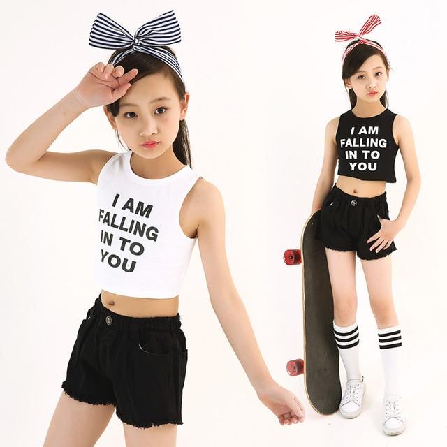 b88de4a1cd4be 2 pièces ensemble filles vêtements d'été blanc noir coton Crop hauts et  shorts/