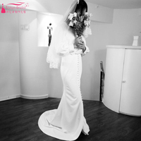 Простота с длинным рукавом Свадебные платья 2018 удивительные и пуговицы Vestidos De Noiva богемные Свадебные платья франция халат De mariée zp015