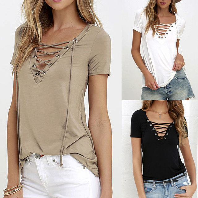 2016 summer fashion lace-up V-neck T-shirt sexy hollow out on a casual shirt plus size women.