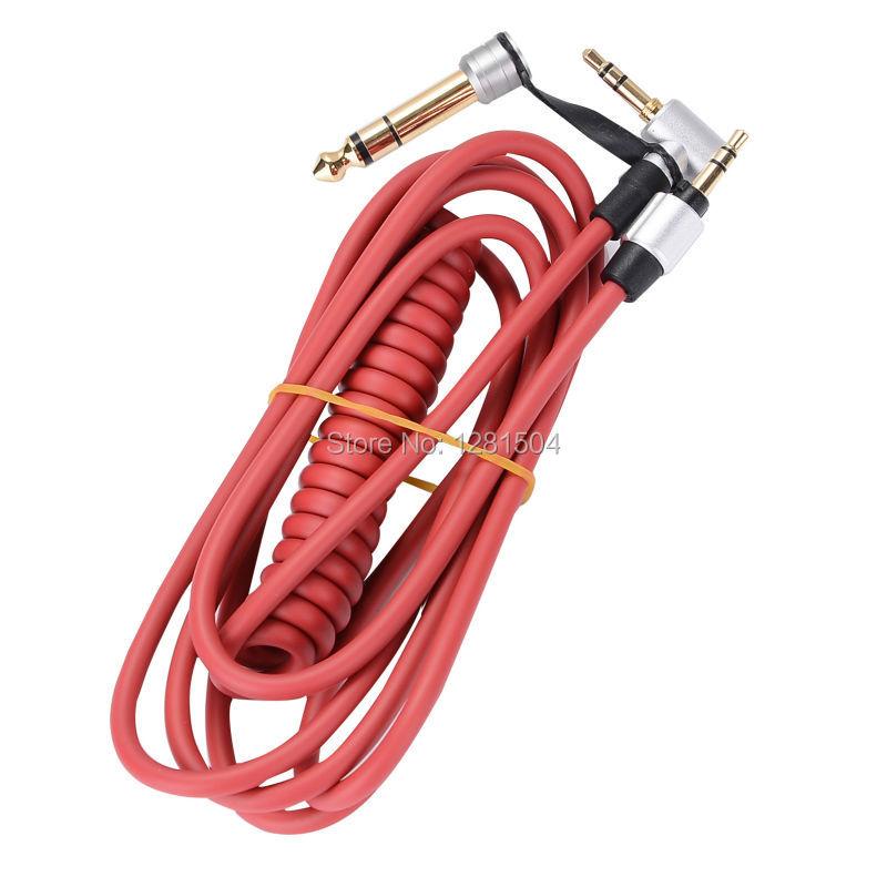 Prix pour En gros Noir et Rouge 6.5mm et 3.5mm Printemps Remplacement Audio câble Casque pour Monster Battre Pro Detox Solo AUX Câble 10 pcs/Lot