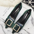 New Spring Summer Sexy Pumps Fashion High-heeled Shoes Pointed Shallow Metal Buckle Suede Stilettos Thin Heeled Shoes G1610-9