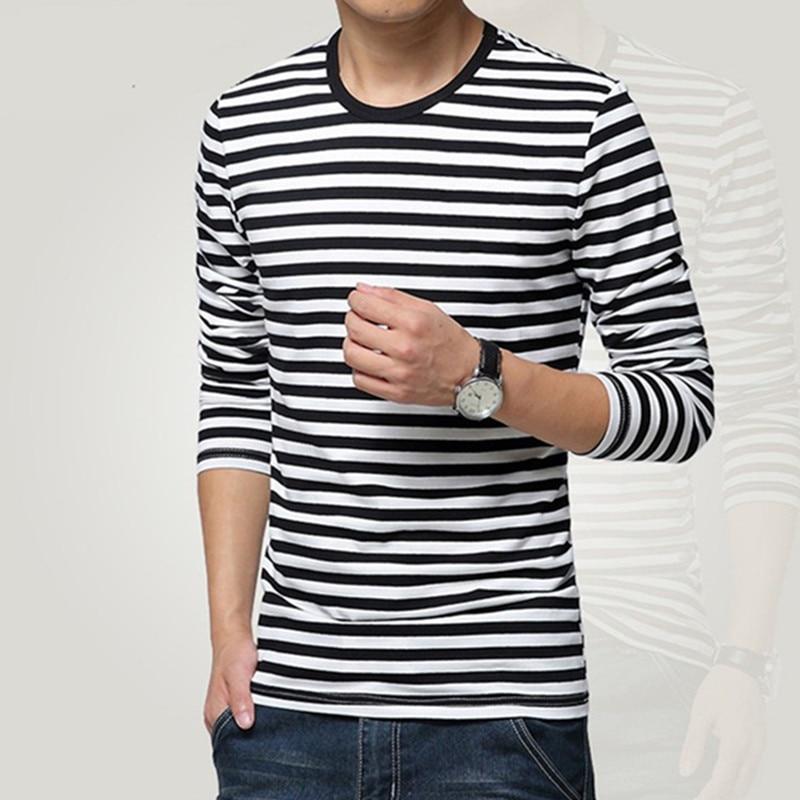 Gaya angkatan laut kemeja pria lengan panjang T-shirt o-neck stripe t - Pakaian Pria - Foto 2
