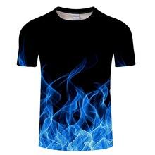 Синий, красный, пылающая Футболка мужская футболка 3d футболка черная футболка Повседневный Топ аниме Camiseta Streatwear короткий рукав ткань Азиатский Размер 6xl
