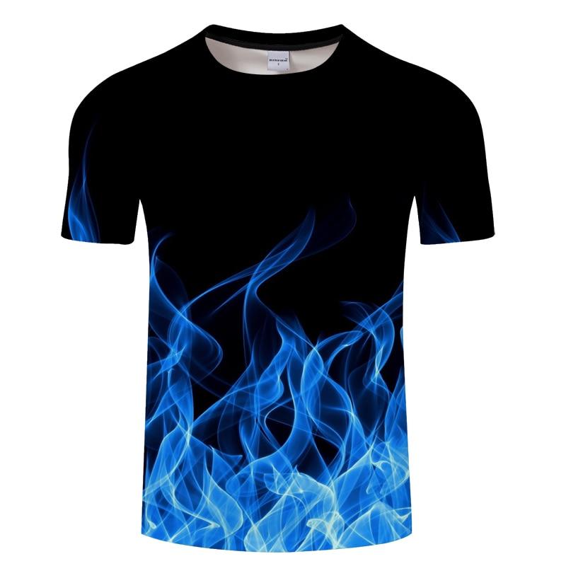 Blue red Flaming tshirt Men t shirt 3d t-shirt Black Tee Casual Top Anime Camiseta Streatwear Short Sleeve Cloth Asian size 6xl
