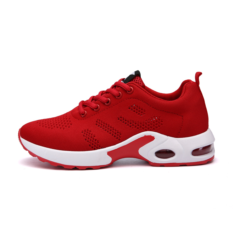 2017 Mesh Breathable Ladies Walking Jogging Sneakers Cheap Sport Shoes Woman Running Sneakers Black Red Womens Sport Runners