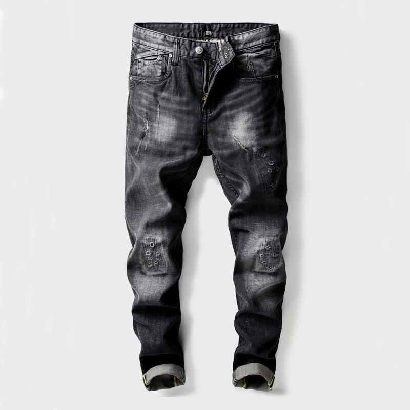 Black Color Vintage Designer Mens Jeans High Quality Patchwork Destroyed Ripped Jeans Hip Hop Punk Pants Classical Jeans Men