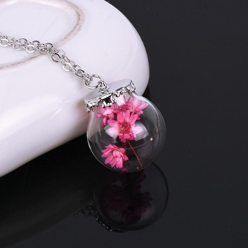 Charms 12 stks/partij Flacon Glas Gedroogde Bloemen Kettingen Hangers voor Prinses moederdag Party Sieraden Geschenken Verzilverd