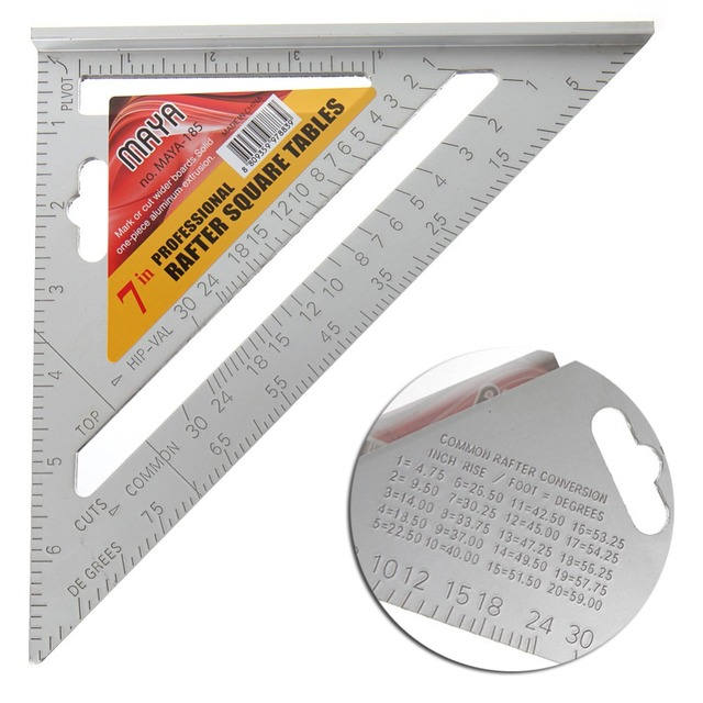 """7"""" Square Carpenter's Measuring Ruler Layout Tool Triangle Angle Protractor"""