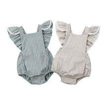 Spring Baby Girl Rompers Ruffles Princess Boys Striped Tassel Clothing Roupas Ne