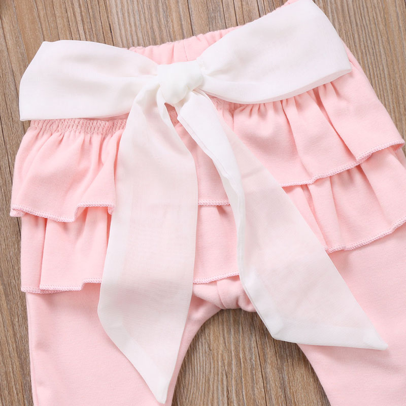 Infant Baby Girl Layered Ruffle Pants Toddler Kid Long Pants Bowknot Casual Bottoms Clothing 5