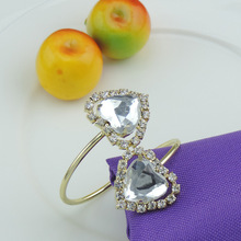 5PCS rhinestone alloy napkin ring European wedding supplies gold / silver buckle