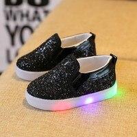 春秋lightenning赤ちゃん子供シューズキッズledフラッシュスニーカーファッションスパンコールスニーカー女の子プリンセス靴q1