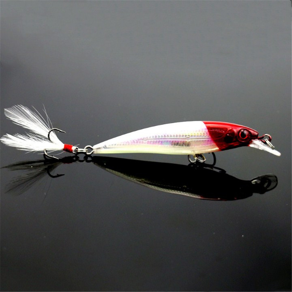 1pcs 7.2g 9cm Minnow Fishing Lure Bionic 3D Eyes Laser Hard Artificial Bait with Feather Fish Lures Sea Fishing Bait Pesca