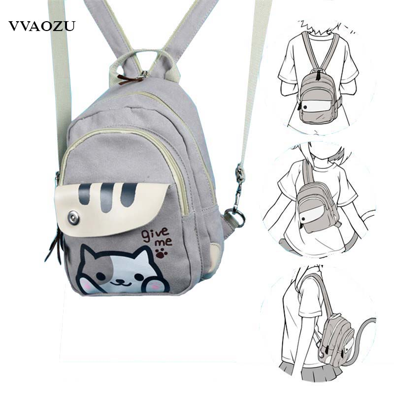Free Shipping Cat Backyard Print Girls Lolita Shoulder Bag Adorable Student Backpack Cartoon Mini Chest Bag