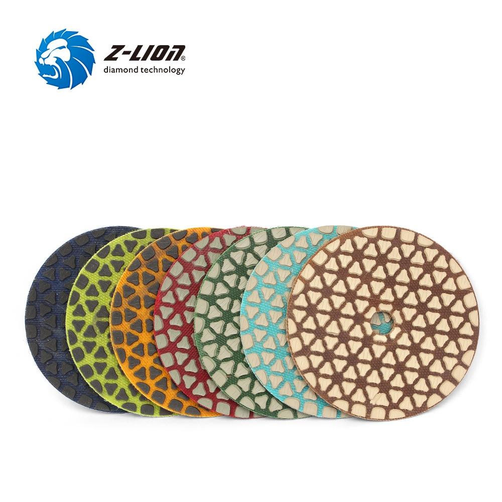 Z LION 7pcs 4 Diamond Dry Polishing Pads 100mm New Design Marble Granite Stone Polishing Wheel