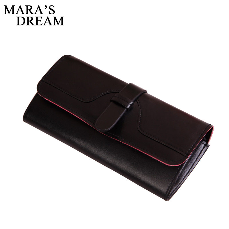 Mara's Dream 2018 PU Leather Wallet Women Solid Hasp Fashion Lady Purse Brand Coin Purse Vintage Long Zipper Party Clutch Wallet 2016 new fashion luxury vintage retro pu leather men long wallet coin purse clutch with zipper hasp for women cards phone holder