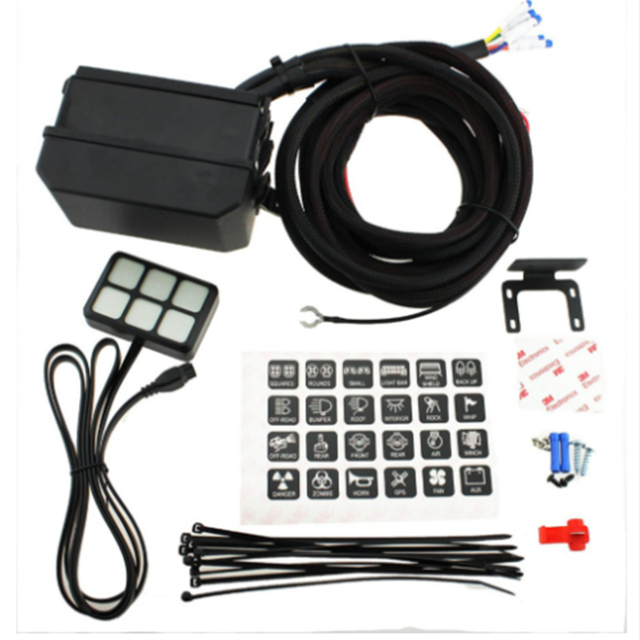 1pc auto 12v led 6 gang switch panel relay control box wiring 1pc auto 12v led 6 gang switch panel relay control box wiring harness rocker car vehicle accessories car styling car styling