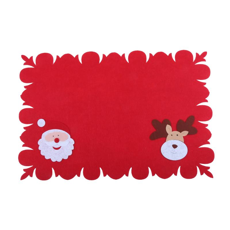 Christmas Decorations For Home Red Santa Snowman Christmas Table Mat Heat Insulation Pad Kitchen Knife Fork Cover Dinner Decor
