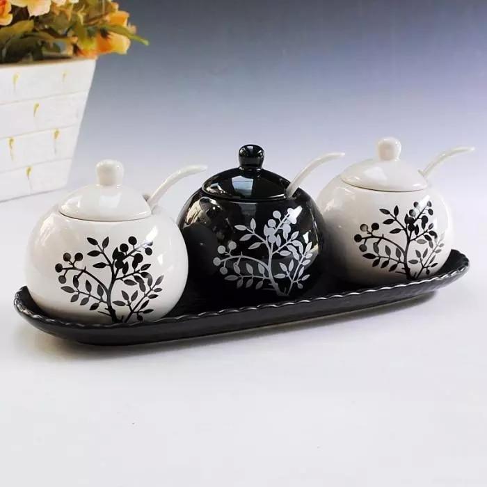 Belle bouteille d'assaisonnement en céramique 3 pièces/ensemble pot à épices noir et blanc sauce pot fournitures de cuisine conteneur de stockage réservoir - 4