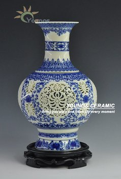 Jingdezhen Ivory color glazed Hollow out Blue and White Porcelain vases