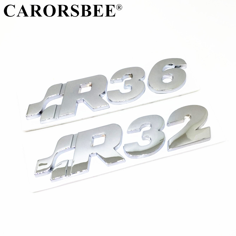 CARORSBEE 3D En Métal en alliage De zinc Voiture Emblème Badge Autocollant De Voiture R32 R36 Logo Decal Auto Boot Arrière Tronc autocollants Pour Tiguan MK5 MK7