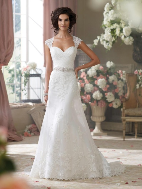 2017 Mermaid Lace Cap Sleeve Sweetheart White Ivory Wedding Dress With Appliques Classic Custom Made Wedding Gown n721