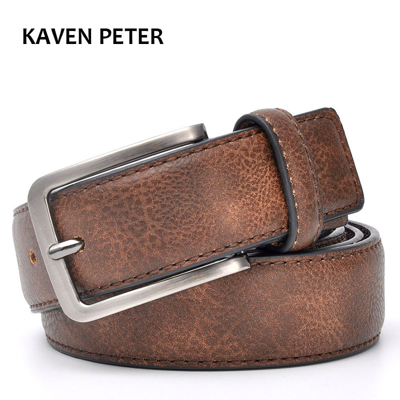 Accesorios para hombres caballeros correa de cuero pantalones cintura Casual elegante hombre Cinturones negro con gris y marrón oscuro, Color marrón