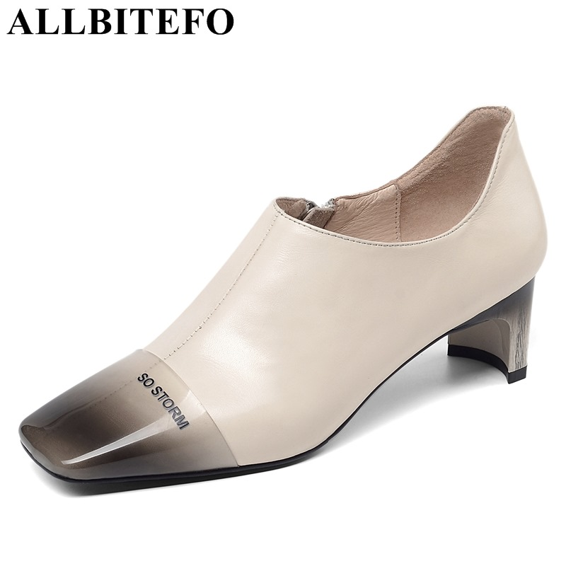 ALLBITEFO fashion natural genuine leather women heels shoes square toe sexy girls high heel shoes woman