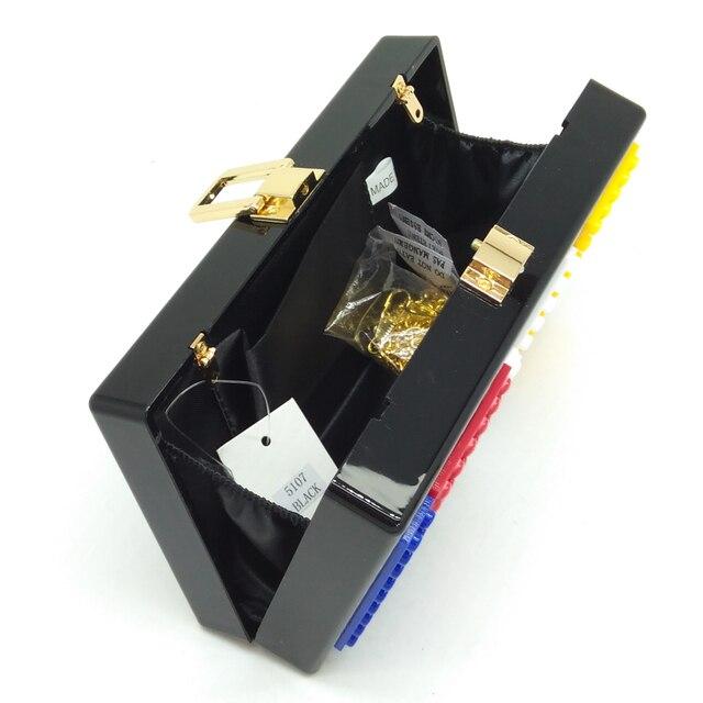 Boutique De FGG LOVE Letters Women Black Acrylic Box Clutch 2