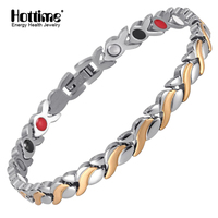 Hottime 7mm Adjustable Length Health Magnetic Bracelet For Women Stainless Steel With Germanium Hand Chain