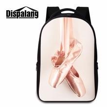 Dispalang женская мода ноутбук рюкзаки балетные туфли ног печати back pack для молодежи travling сумка мешок школы mochila feminina