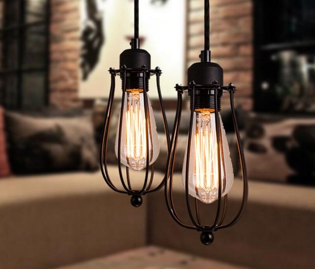 loft industrial iron cage. Nordic Vintage Loft Pendant Lamp Art Iron Cage Industrial Light For Bar/Warehouse/ T