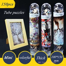 150 Pcs/Set Mini Tubes Coffee Shop Jigsaw Thicker Paper Puzzle Adult Creative Romantic Toy Puzzles Christmas Gift For Children