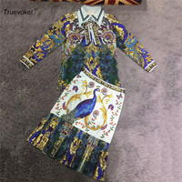 Truevoker Frühling Designer Kleidung Set Frauen Langarm Vintage Tier Gedruckt Bluse + Bleistift Rock Anzug