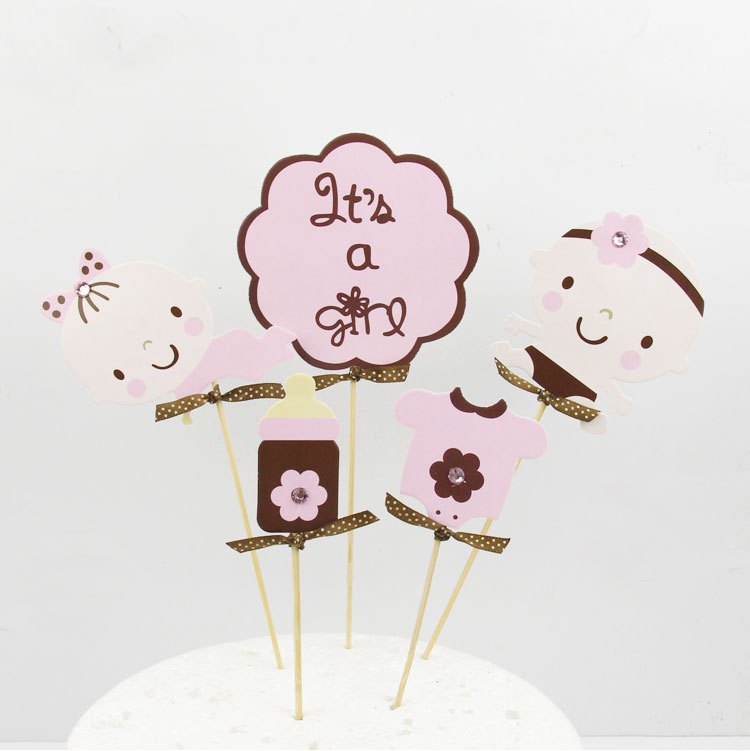 It is a Girl Kids Happy Birthday Cake Topper Cupcakes flags 1set Flags Party Decor Baby Shower Wedding Baking Toppers