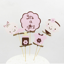 It is a Girl Kids Happy Birthday Cake Topper Cupcakes flags 1set Cake Flags Party Decor Baby Shower Wedding Baking Cake Toppers 1set happy birthday cupcake toppers cake topper cake flags baby shower baby car birthday party decor children kids party diy