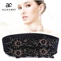 Korean Fashion Rhinestone Stretch Wide Belt Decoration Girdle With Diamond Elastic Belt Accessories Ms