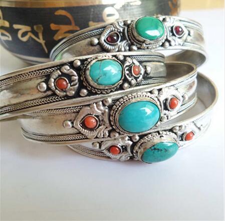 Tibétain argent incrusté vente jadéite collier ouvert Bracelet népal bijoux  Vintage dans Bracelets de Bijoux et Accessoires sur AliExpress.com