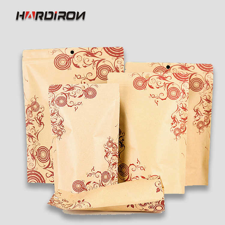 0.28mm Stand Zipper Kraft Paper Pack Inside Aluminum Foil Bags Moistureproof Kraft Dried Fruit Tea Pouches with Flower Printing